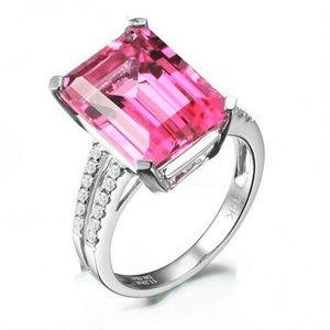 Fashion Silver Pink Ametrine Gemstone Ring New
